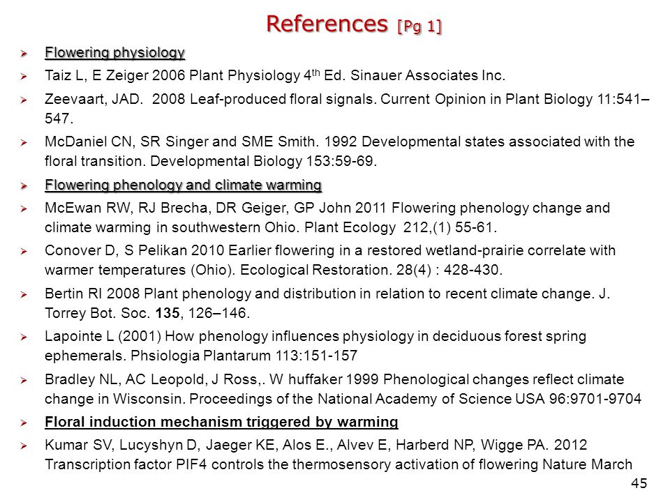 References [Pg 1] Flowering physiology